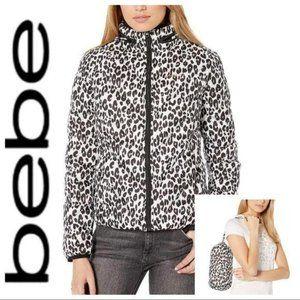 BEBE Cheetah Print Packable Hood Puffer JACKET NWT